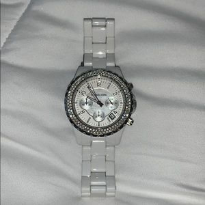 White Michael Kors Watch with diamonds